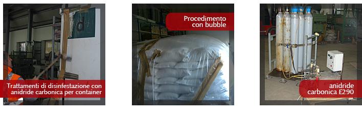 Disinfestazione dei container con anidride carbonica
